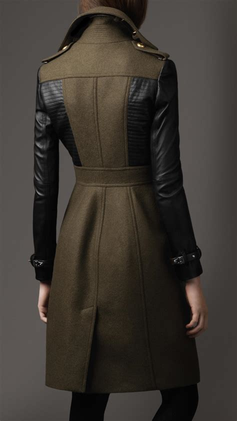 Lyst - Burberry Leather Sleeve Coat in Green