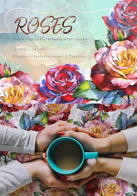Ilustrace Realistic Watercolor Red Roses PNG Set #71832