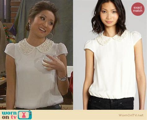 WornOnTV: Veronica's white pearl embellished collar top on