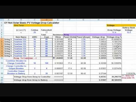 Solar Panel wire size and voltage drop calculations - YouTube