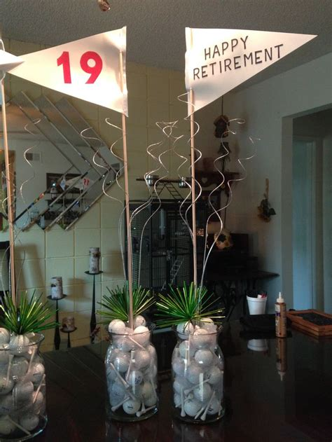 Golf themed centerpieces   Golf party, Golf party
