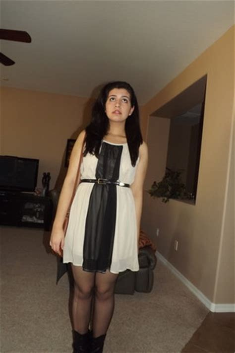 """Dresses, Sheer Tights, Black Thrifted Belts   """"one man"""